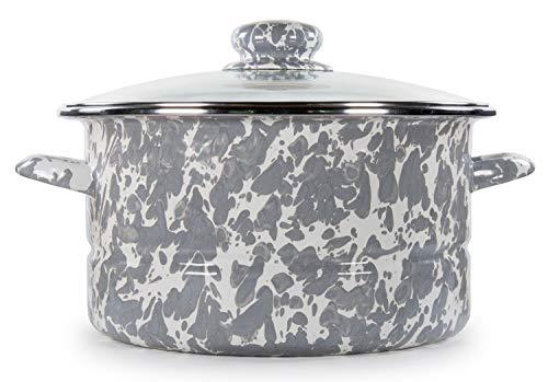 Golden Rabbit Enamelware - Grey Swirl Pattern - 6 Quart Stock Pot