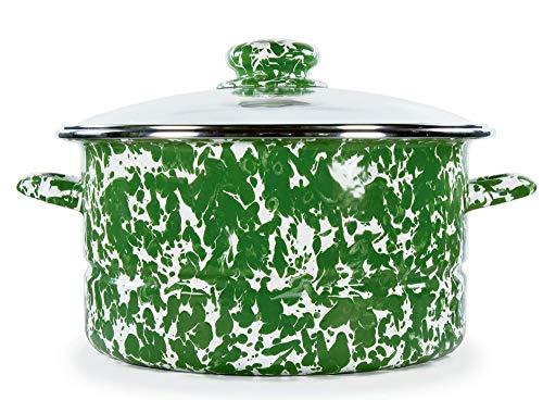 Golden Rabbit Enamelware - New Green Swirl Pattern - 6 Quart Stock Pot