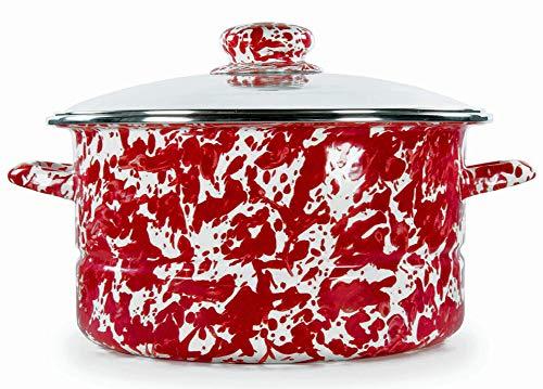 Golden Rabbit Enamelware - Red Swirl Pattern - 6 Quart Stock Pot
