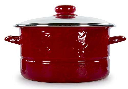 Golden Rabbit Enamelware - Red Swirl on Red Pattern - 6 Quart Stock Pot