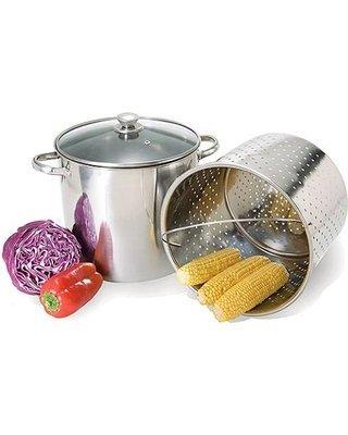 20 Qt Jumbo Multi Stock Pot Steamer Cooker 3pc Set by Home Select