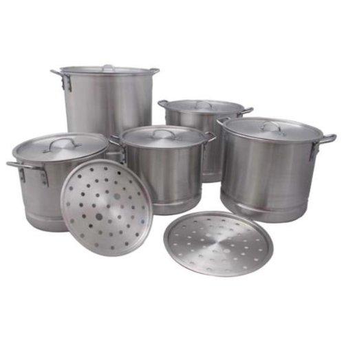 5 Piece Aluminum Stockpot With Steamer 5 Pieces - 5 Piece Aluminum Stockpot With Steamer Sizes Included 20 Qt 24 Qt 32 Qt 40 Qt 52 Qt