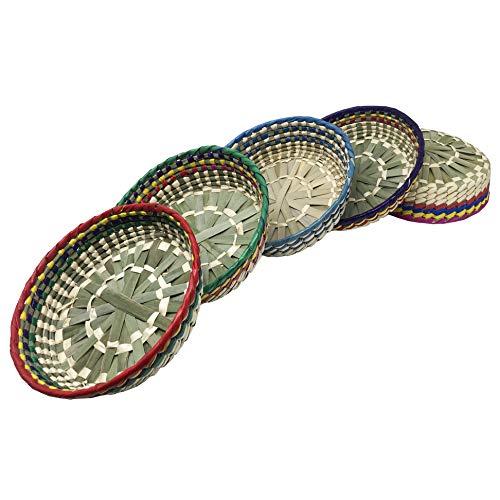 La Mexicana 5 Pack Tortilla Warmer Holder  Mexican Artisanal Handwoven Basket to Keep Food Warm  Great Taco Holder and Quesadilla Warmer  Pancake Holder  Tortillero