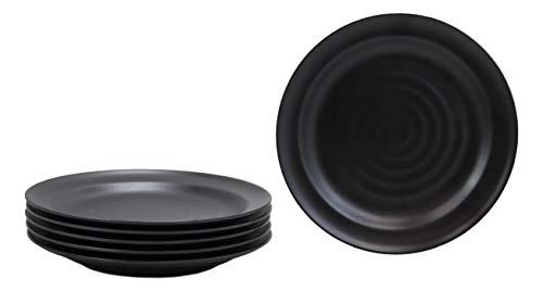 Ebros Contemporary Tao Swirl Design Round 975 Diameter Matte Black Jade Melamine Large Dinner Plates Pack Of 6 Set For Home Kitchen Modern Dining Restaurant Supply