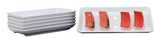 Ebros Gift Japanese Raw Food Preparation And Storage White Neta Zara Melamine Sushi Sashimi Chef Serving Plate With Drip Holes For Sushi Case 825L x 375W Restaurant Supply Pack Of 6