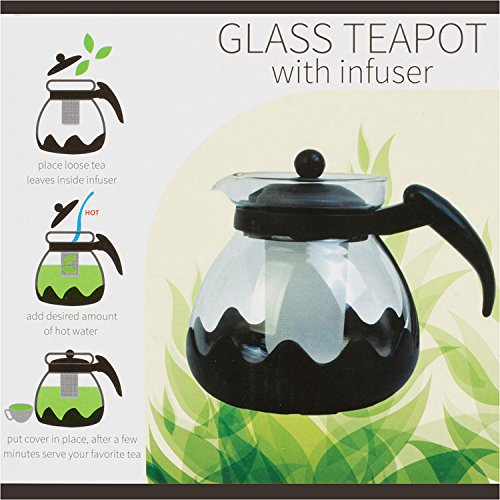Kole OC840 Glass Teapot with Infuser 42oz 125 LT