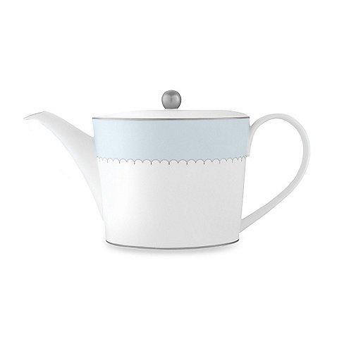 Monique Lhuillier Lily Of The Valley Blue Teapot 525 36 Oz Fine Bone China