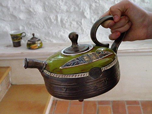 Handmade Pottery Teapot Green Wheel Thrown Tea Pot Ceramic Art