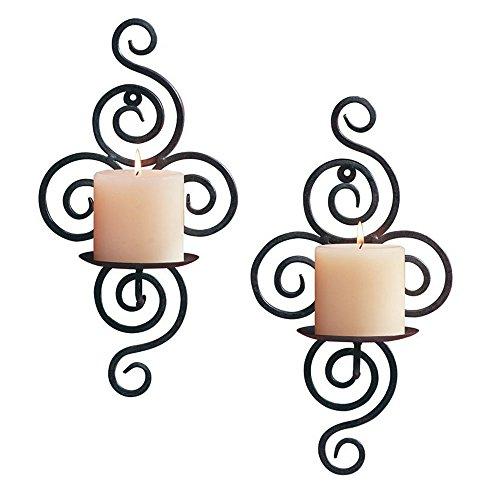 HUJI Elegant Pair of Iron Decorative Swirling Scroll Design Wall Hanging Art Candle Holders 1 Antique Finish