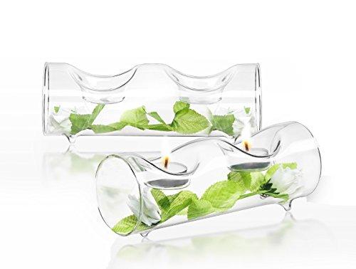 JoyJolt Set of 2 Double Clear Glass TeaLight Candle Holders Centerpiece TeaLight Holder