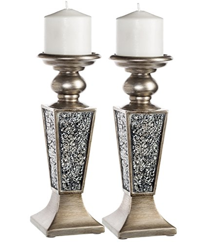 Creative Scents Schonwerk Pillar Candle Holder Set of 2- Crackled Mosaic Design- Functional Table Decorations- Centerpieces for Dining Living Room- Best Wedding Anniversary Gift Silver