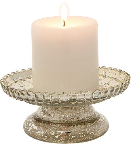 Luna Bazaar Mercury Glass Pillar Candle Holder 25-Inch Silver Diamond Design