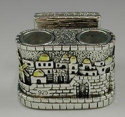Set of 2 Jerusalem Style Sterling Silver Candlesticks With a matchbox insert