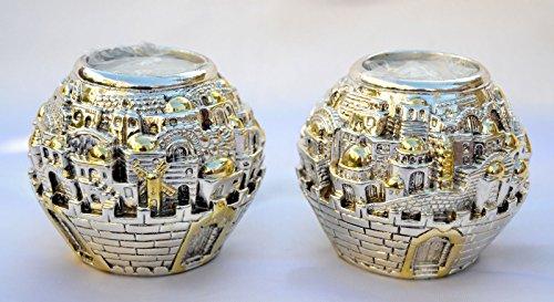 Silver Plating Candlestickscandle Holder Israel Jerusalem Panorama Shabbat Tea Light Candle