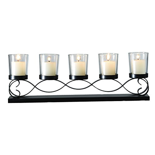 Asense Antique Iron Candle Holders with Glass Wave Bubs Style Table Standing Candle Holder Pillar No Include Candle Horizontal Wave Bubs Style