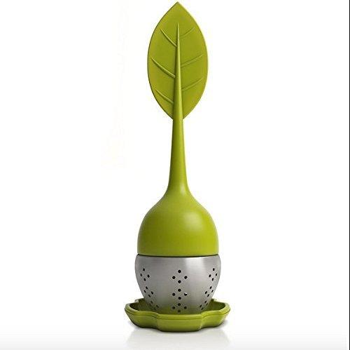 TeaLeaf Tea Infuser Strainer Filter Steeper- Stainless Steel Ball For Loose Herbal Leaves BPA-Free Olive green