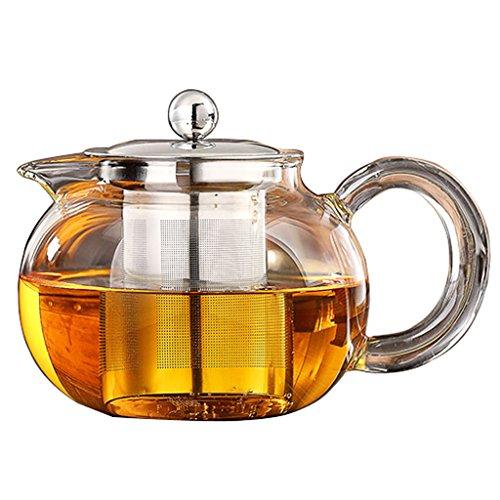 Lifelj Clear Glass Heat Resistant stainless steel Infuser Short Spout Teapot Tea 500ml
