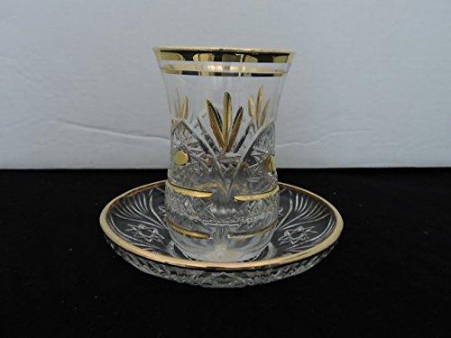 6 pieces crystal GOLD Turkish tea glasses tea set N  69