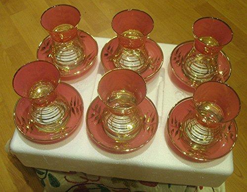 6 pieces gold plated turkish tea glasses tea set  4
