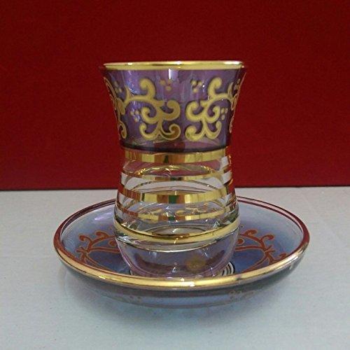 6 pieces of purple Turkish tea glasses tea set glass mug hot tea glasses n  59