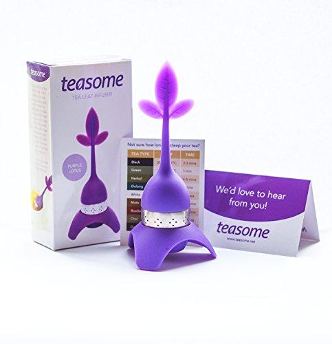 Loose Leaf Tea Infuser- Lotus Tea Leaf Infuser with Drip Tray and Bonus Tea Timer Chart - Best for Medium Size Tea Leaves - Tea Steeper