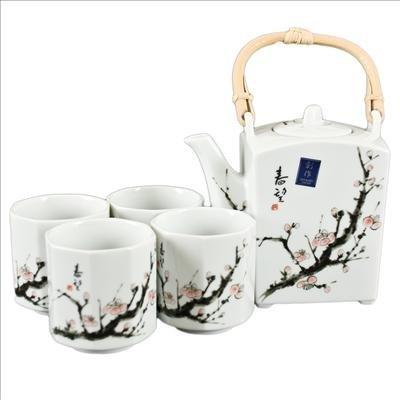 Happy Sales Japanese Cherry Blossom Tree Tea Set 1 pot 4 cups