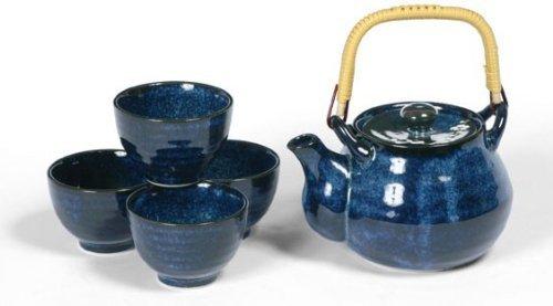 Japanese Blue Namako Cherry Blossom Tea Set