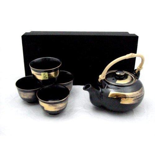 Kafuh YQ64BK Japanese Porcelain Tea Set Black with Gold Brush Design