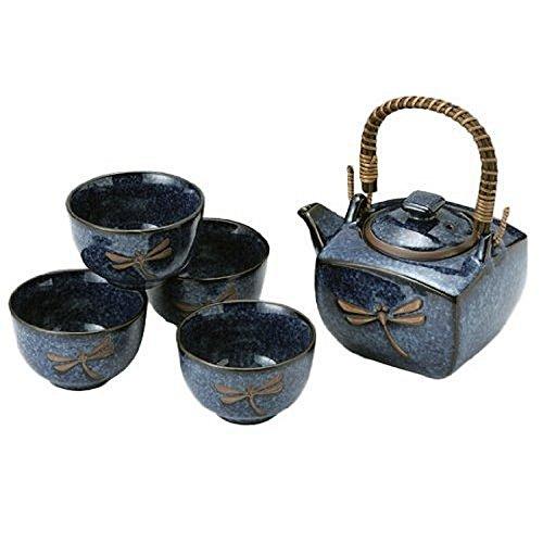 MV Trading MV64N Japanese Blue Dragonfly Tea Pot and Tea Cups set Square 1 Teapot 24-Ounces  4 Cups 5-Ounces