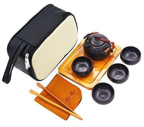 Vegali Chinese  Japanese Dragon Handle Pumpkin teapot Kungfu Gongfu Tea Set With A Portable Travel Leather Bag VC4 Black