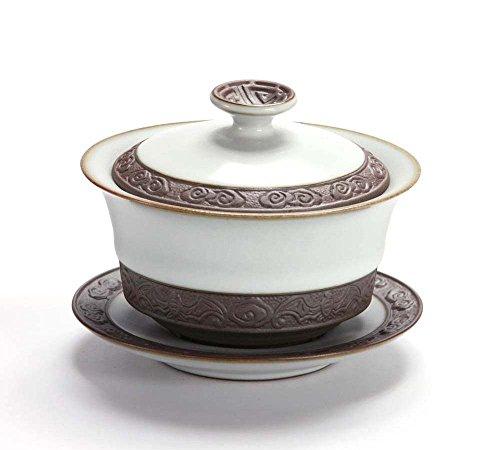 Chinese Porcelain Celadon Ru Kiln Tea Cup Auspicious Pattern Moon White Gaiwan