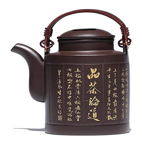 Chinese teapot Zisha Pot Original Mine Purple Mud Barrel Lifting Beam Pot Handmade Teapot Tea Set Yixing clay teapot Purple sand pot Ceramic pot color  Purple mud