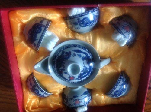 Exquisite porcelain tea set 7 pcs w unique silk gift box