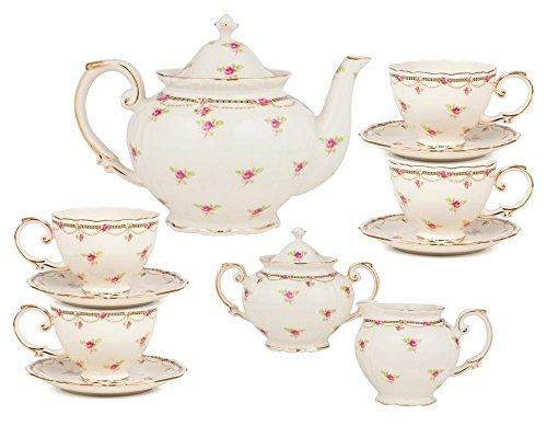 Gracie China by Coastline Imports 11-Piece Porcelain Petite Fleur Porcelain Tea Set Pink