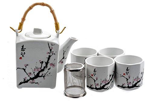 MV Trading MVTS-001 Porcelain Tea Set with Sakura Flower Design