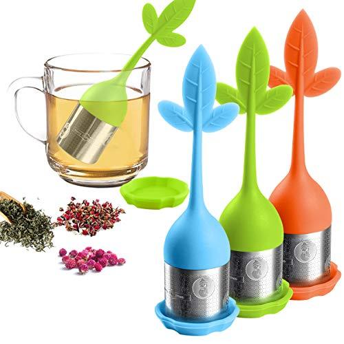 Loose Leaf Tea Infuser - Tea Strainer for Tea Pot Mug - Tea Filter for Steeping Loose Tea Steeper - for Bottle the Teapot Tea Cups Fennel Tea Rooibos tea Herbal Tea 3 Set - GreenBlueOrange