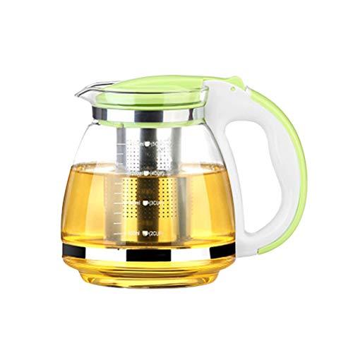 OUNONA Glass Teapot Stainless Steel Filter Handle Heat Resistant 2000ml Green