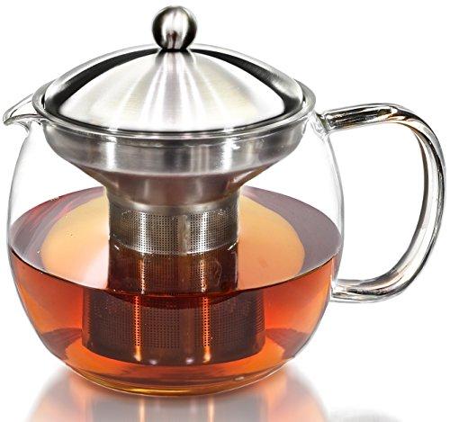 Teapot Kettle with Warmer - Tea Pot and Tea Infuser Set - Glass Tea Maker Infusers Holds 3-4 Cups Loose Leaf Iced Blooming or Flowering Tea Filter- Teapots Kettles Tea Strainer Steeper Tea Pots