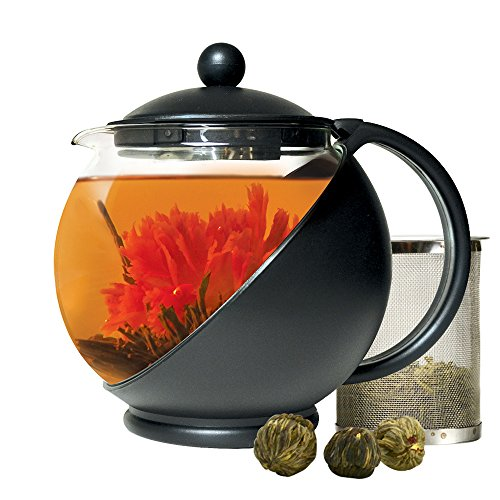 Primula Half Moon Teapot with Removable Blooming and Loose Leaf Tea Maker Set Stainless Steel Filter for Premium Infusion Borosilicate Heat Protective Plastic Cage 40-Ounce BlackGlass