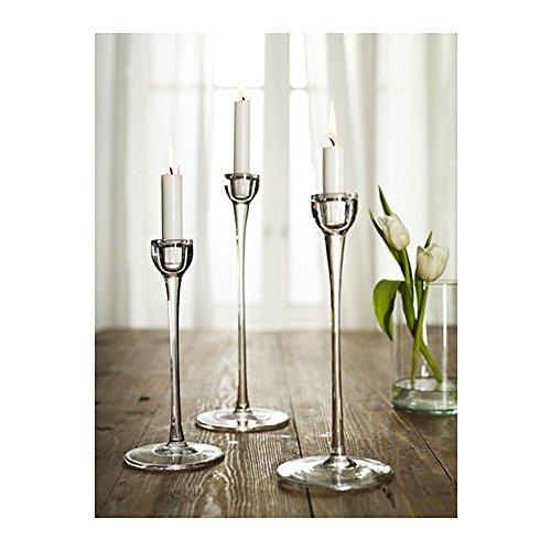 Long Stem Clear Glass Candleholder Candlestick Set