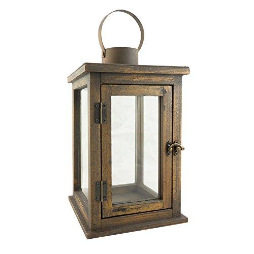 Stonebriar Rustic Wooden Candle Hurricane Lantern Indoor Outdoor Large