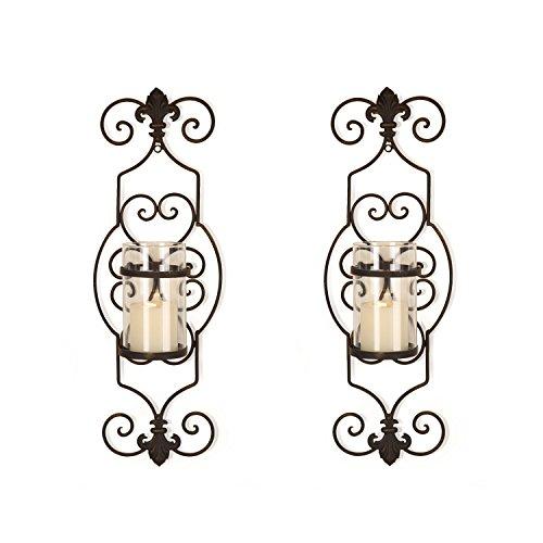 FrameArmy Black Fleur De Lis Wall Candle Holder Sconce 1 Pillar