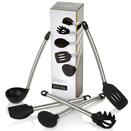 Essence By Bröndbi® Stainless Steel & Silicone Kitchen Utensils, 5 Piece Cooking Utensil Set Inc. Spatula, Spoon