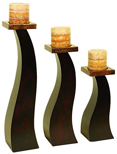 Deco 79 Wood Candle Holder an Special Occasion Decoration Set of 3