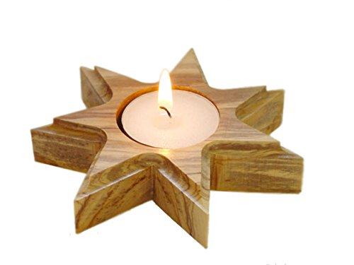 Olive Wood Bethlehem Star Candle Holder by zytoon