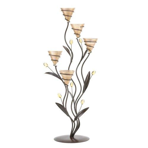 Koehler Home Decorative Accent Tabletop Centerpiece Golden Bouquet Candleholder