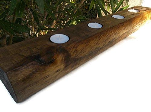 Rustic Wood Tealight Candle Holder Centerpiece 24 x 3 x 3 Handmade