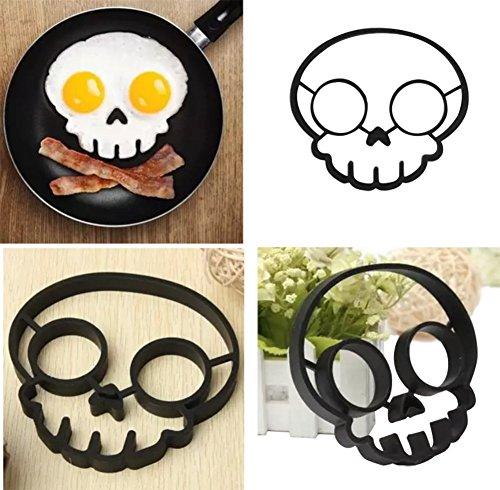 Spooky Halloween Owl & Skull Nonstick Silicone Egg Ring Maker Mold Shaper Combo / Breakfast Sandwich Pancake Omelet