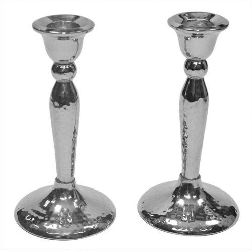 Stainless Steel Hammered Shabbat Candlesticks