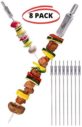 FLAFSTER KITCHEN Skewers for Grilling- 16 Long Flat BBQ Skewers - Shish Kabob Skewers - Stainless Steel Skewer Sticks for Camping - Wide Reusable Sword Skewers - 8 Pack with Storage Bag
